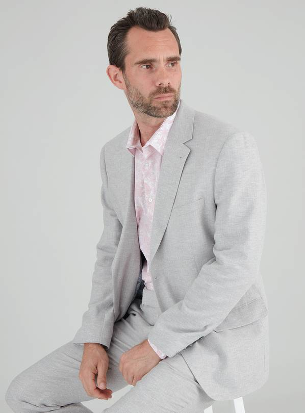Grey Herringbone Tailored Fit Suit Jacket With Linen - 40S