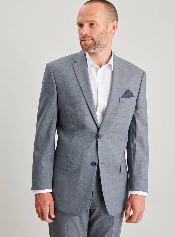 Blue Check Tailored Fit Jacket - 54R
