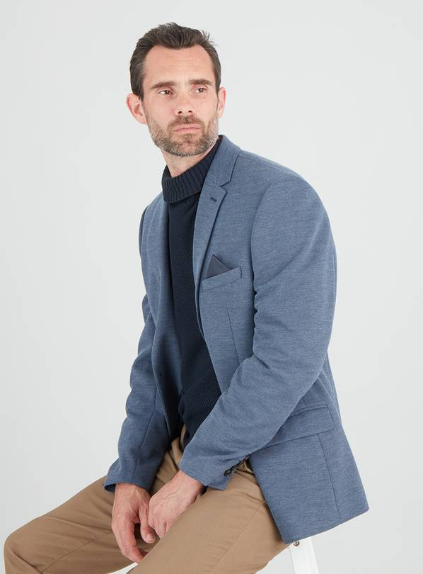 Blue Comfort Knit Tailored Fit Jacket - 38R