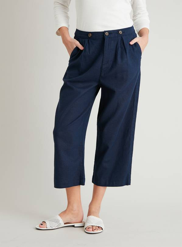 Navy Linen-Rich Cropped Trousers - 22