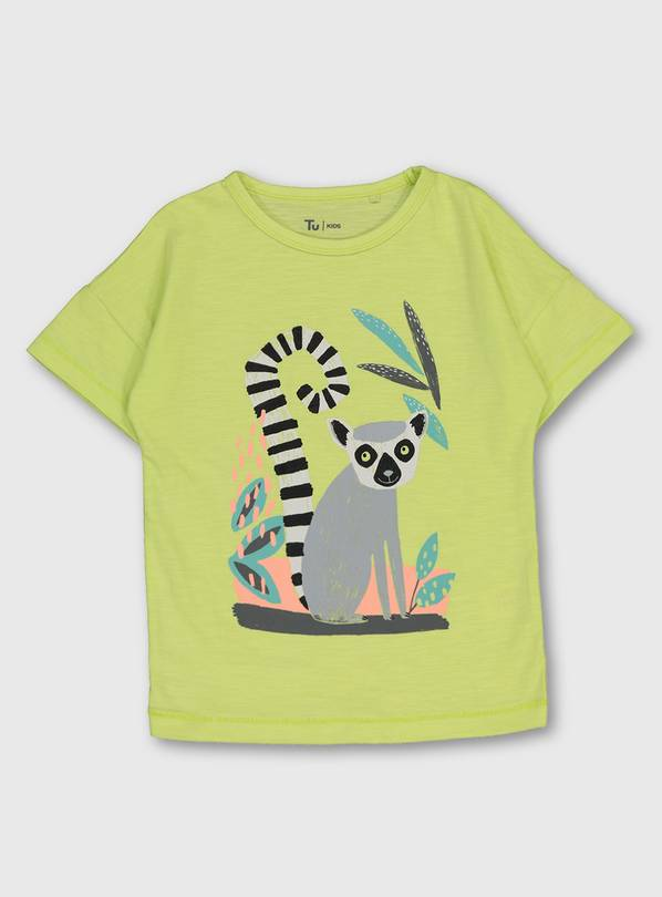 Lime Green Lemur Graphic T-Shirt - 1.5-2 years