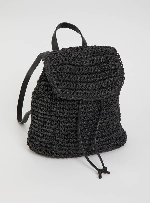 Black Paper Straw Backpack - One Size