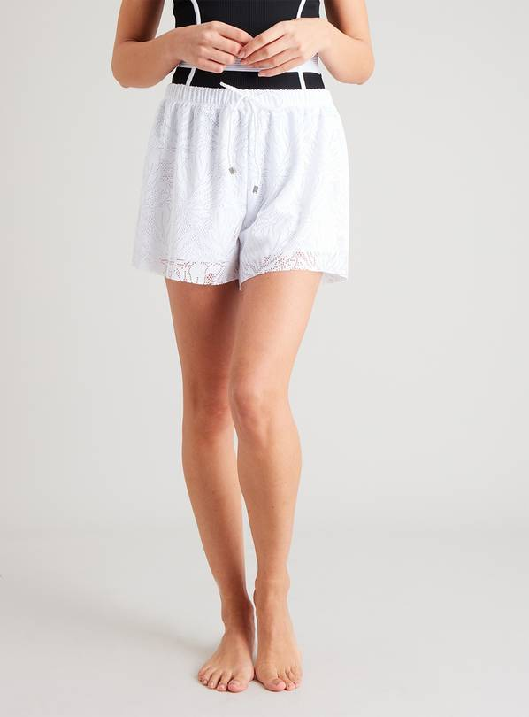 White Stretch Floral Lace Swim Short - 6