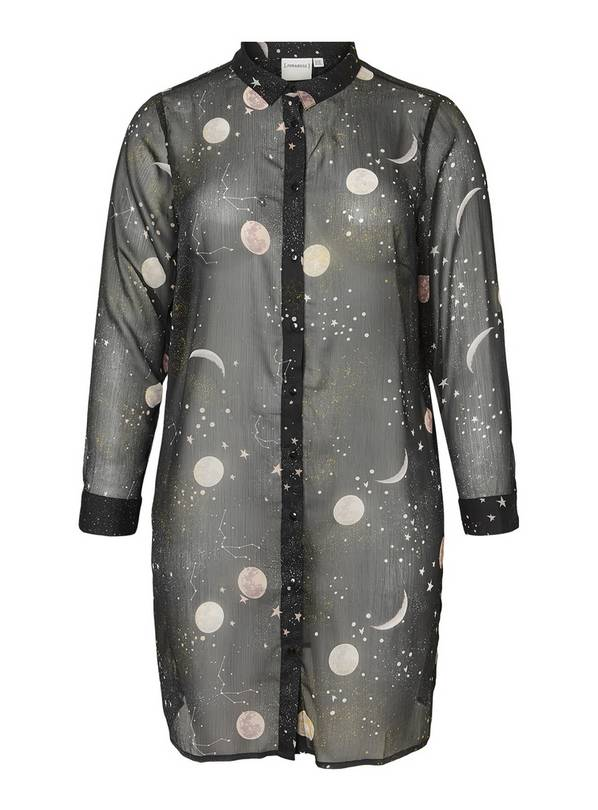 Black Constellation & Moon Print Long Shirt - 26