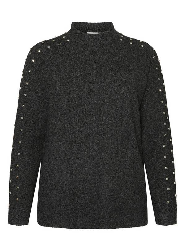 Dark Grey Studded Knit Jumper - 14-16