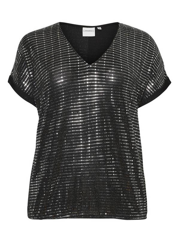 Silver Sequin Short Sleeve Top - 24-26