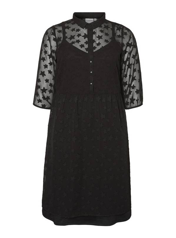 JUNAROSE Black Star Cut Pattern Velvet Dress - 18