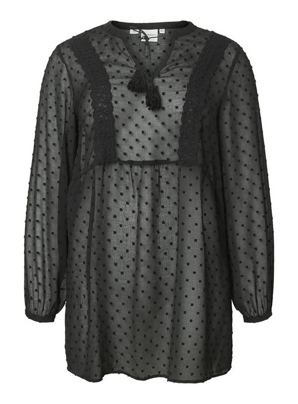 Black Sheer Dotted Tunic - 16