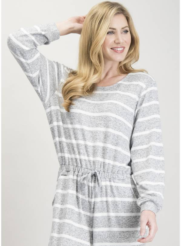 Grey & White Stripe Snit Loungewear Jumpsuit - 22