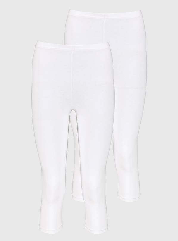White Crop Leggings 2 Pack - 12-14