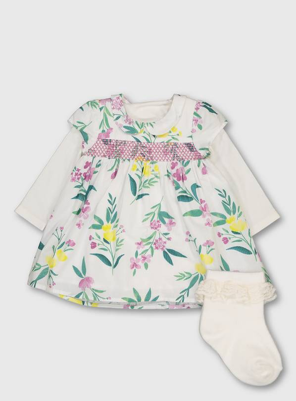 Floral Print Bodysuit Dress With Socks - 18-24 months
