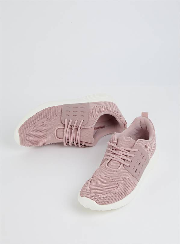 Dusky Pink Knitted Lace-Up Trainer - 6