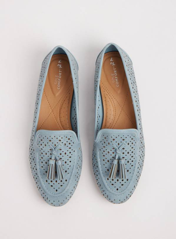 Sole Comfort Light Blue Laser-Cut Loafers With Tassels - 3