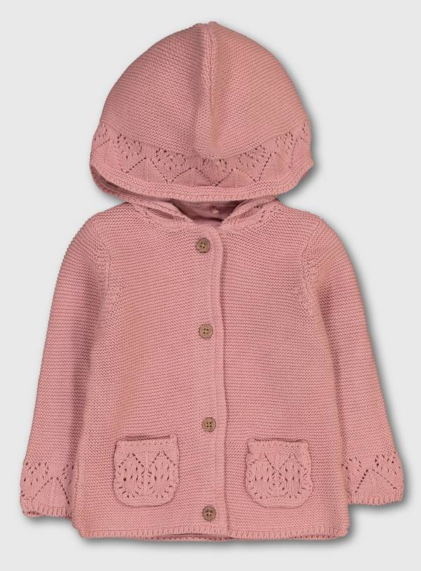 Pink Crochet Detail Hooded Cardigan - Up to 3 mths