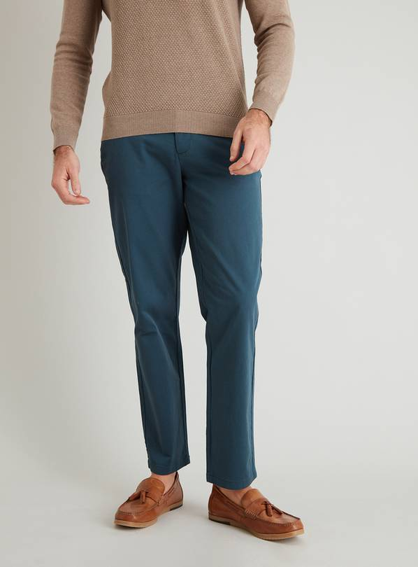Teal Straight Fit Chinos With Stretch - W30 L34