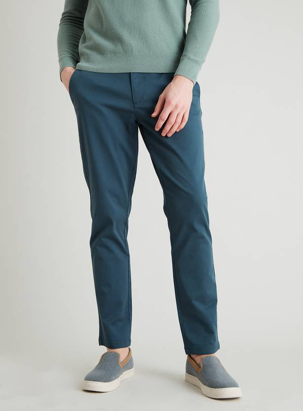 Teal Slim Fit Chinos With Stretch - W42 L34