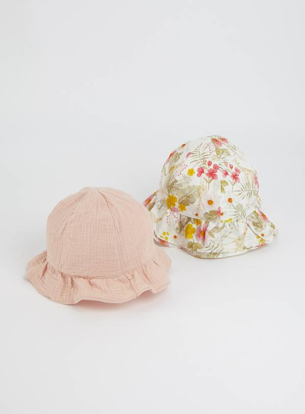 Floral Giraffe & Pink Sun Hat 2 Pack - 1-2 years