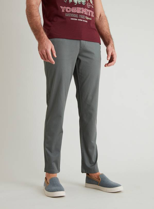 Sage Green Slim Fit Chinos With Stretch - W44 L34