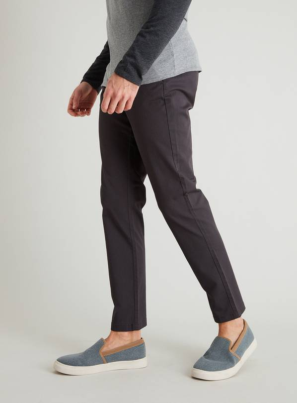 Charcoal Grey Slim Fit Chinos With Stretch - W42 L30