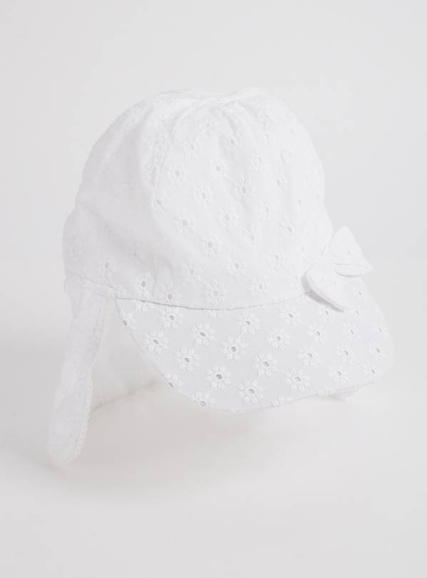 White Broderie Sunsafe Keppie Sun Hat - 1-2 years