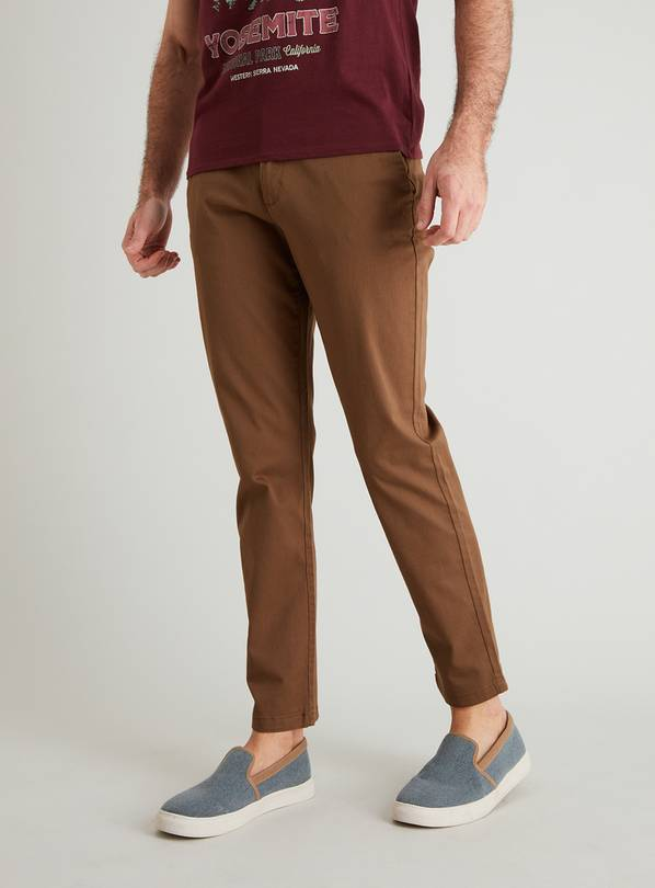 Brown Slim Fit Chinos With Stretch - W42 L30