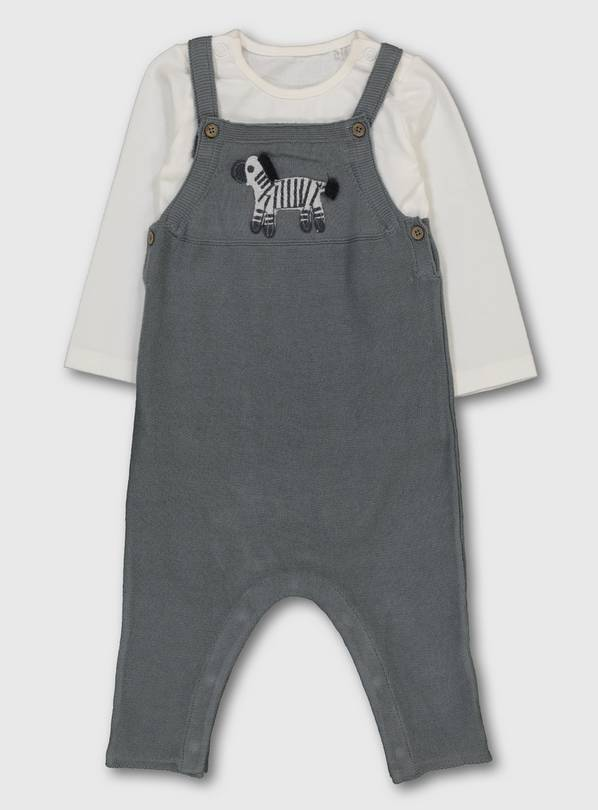Grey Zebra Knitted Dungarees & Bodysuit - 3-6 months