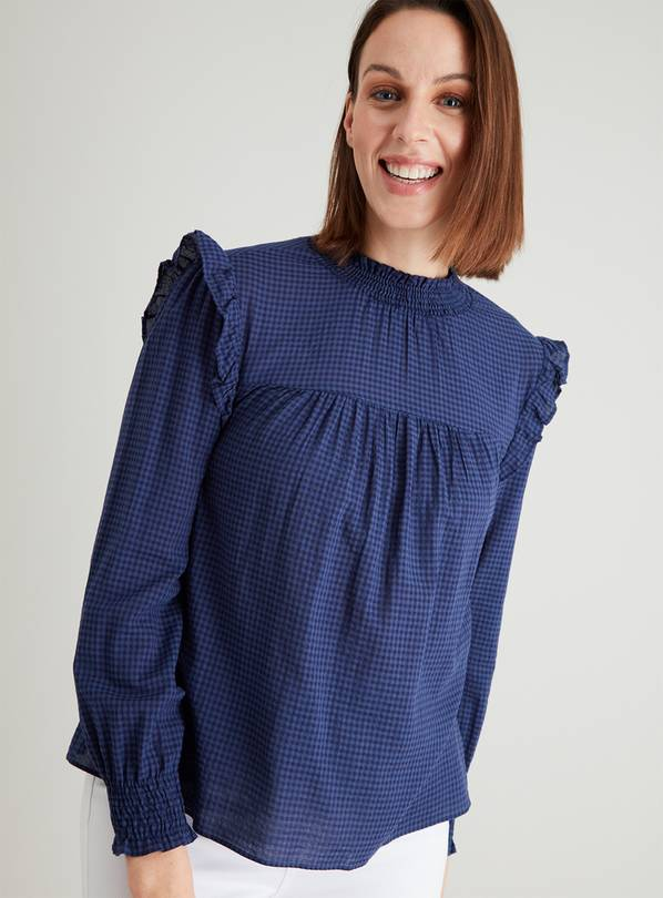 Navy Gingham High Neck Frill Blouse - 14