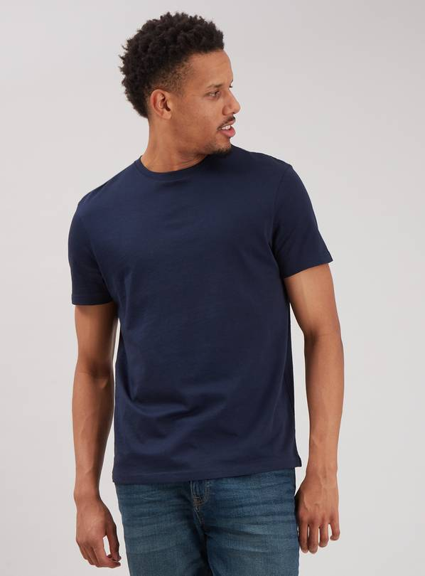 Navy Crew Neck Plain T-Shirt - XXXXL