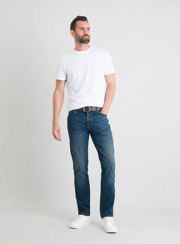 Midwash Slim Fit Belted Denim Jeans With Stretch - W30 L32