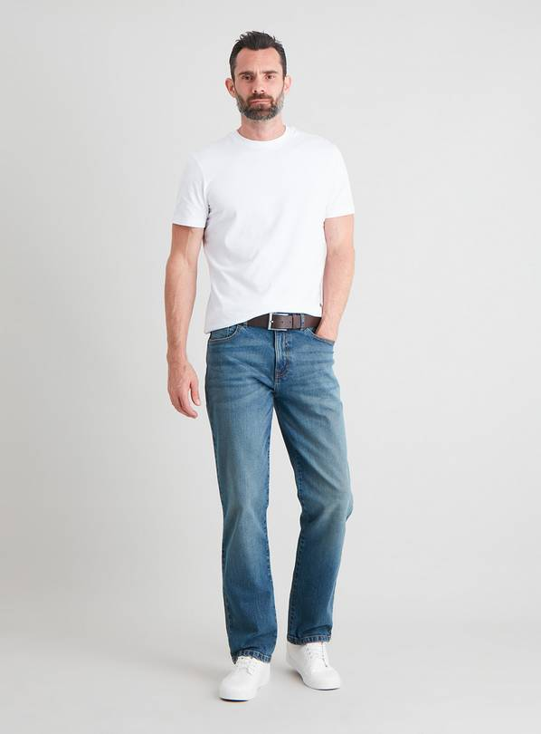 Midwash Denim Belted Straight Leg Jeans With Stretch - W30 L
