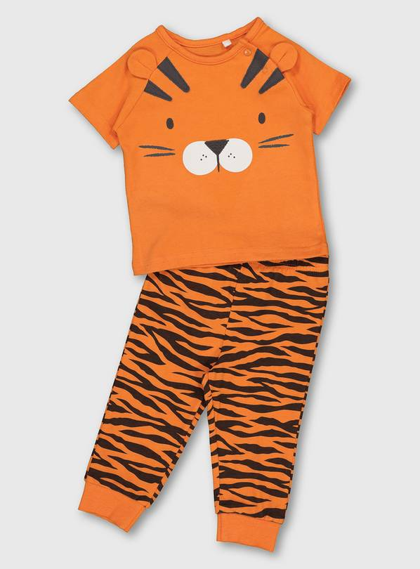 Orange Tiger Pyjamas - Up to 1 mth