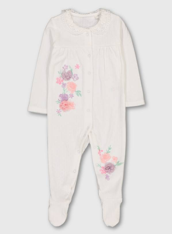 White Floral Sleepsuit - 9-12 months