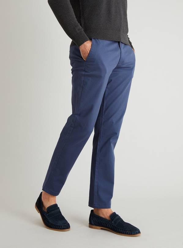 Ink Blue Slim Fit Chinos With Stretch - W32 L32