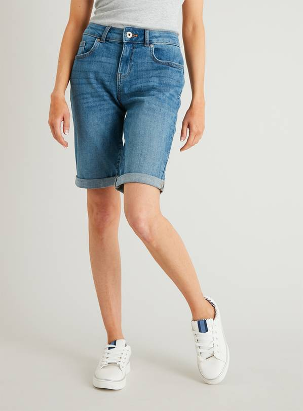 PETITE Midwash Denim Bermuda Shorts - 16