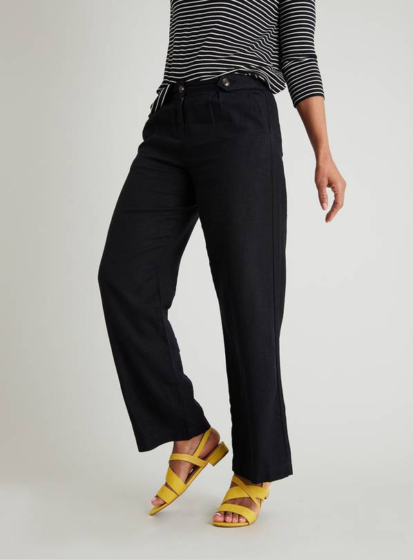 Black Linen-Rich Wide Leg Trousers - 12