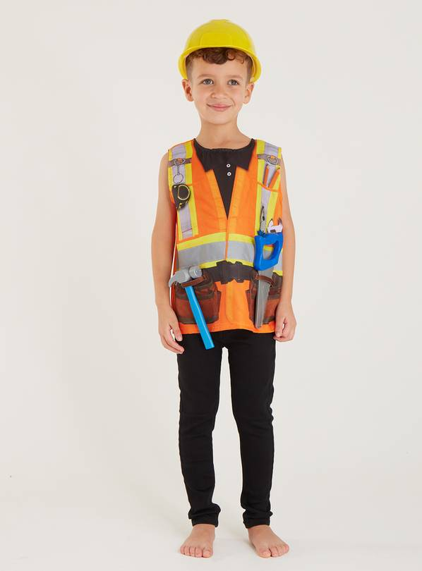 Orange Builder Costume 4 Piece Set - 5-6 years