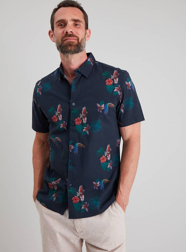 Parrot Print Short Sleeve Regular Fit Shirt With Stretch - X