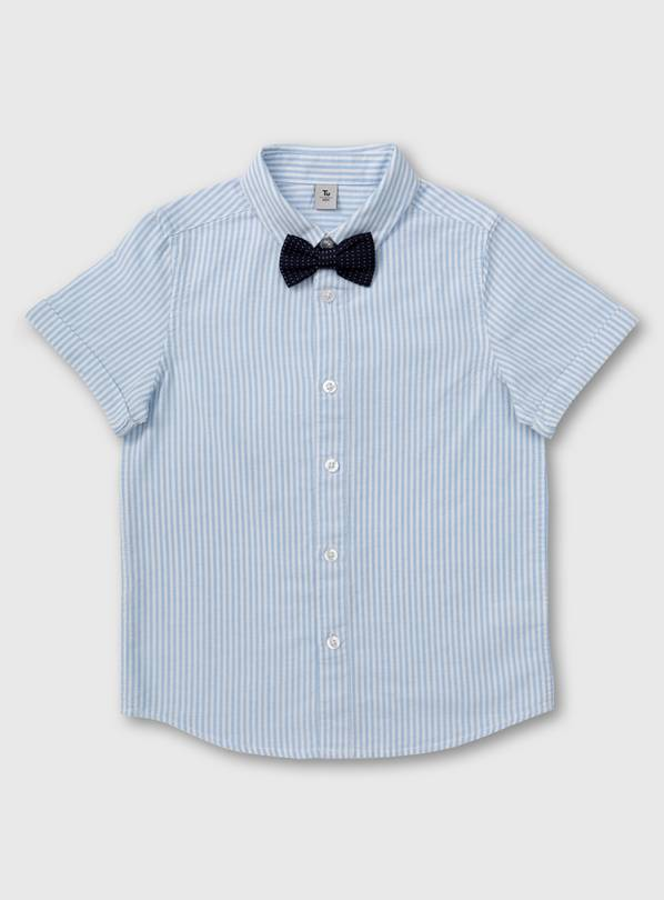 Pale Blue Stripe Shirt & Bow Tie - 7 years