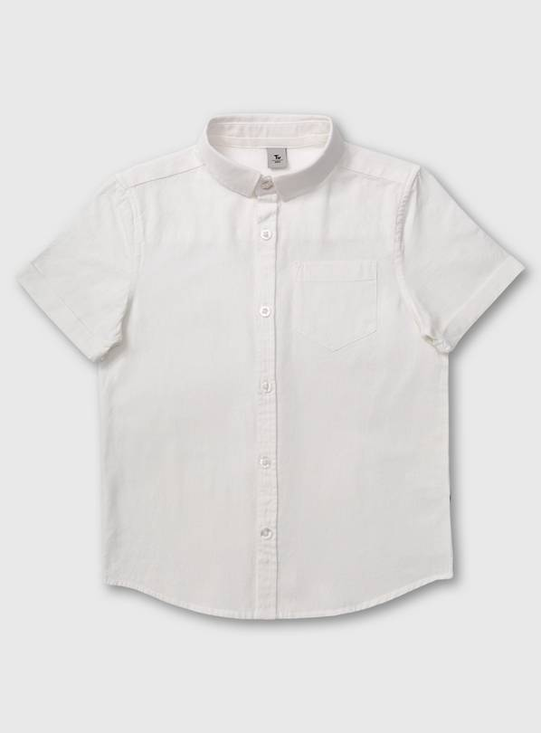 White Short Sleeve Formal Shirt With Linen - 14 years