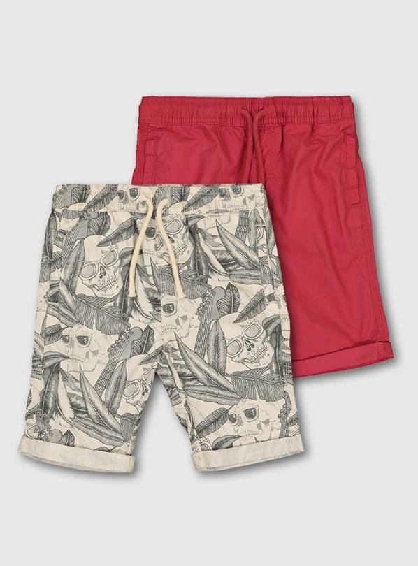 Skull Print & Red Shorts 2 Pack - 12 years