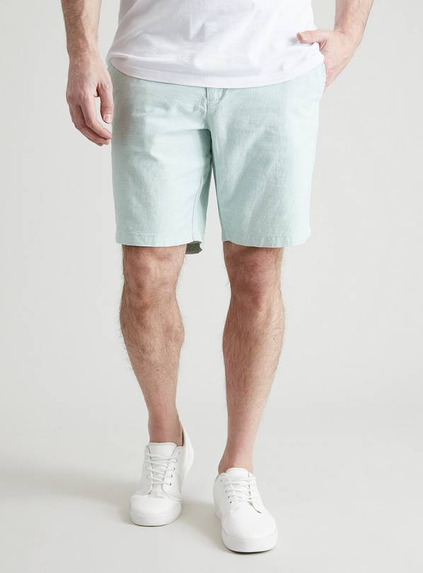 Green & White Stripe Chino Shorts - 38