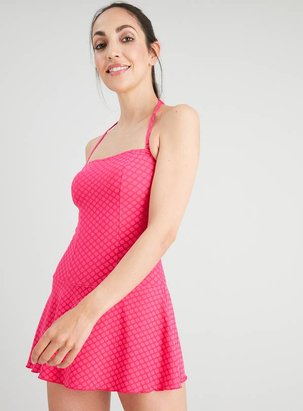 Pink Spot Skirted Swimsuit - 12