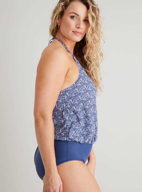 Navy Blue Tile Print Blouson Swimsuit - 16