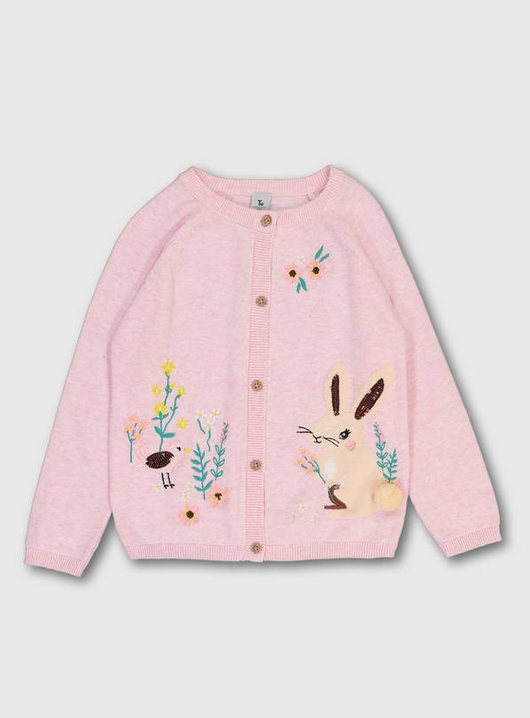 Pink Bunny Story Cardigan - 9-12 months