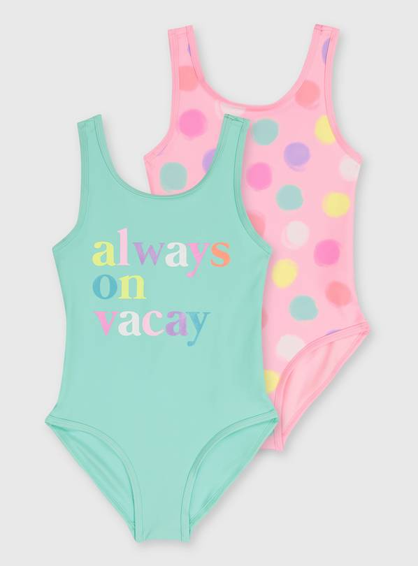 Pastel Spot & Vacay Slogan Swimsuit 2 Pack - 9 years