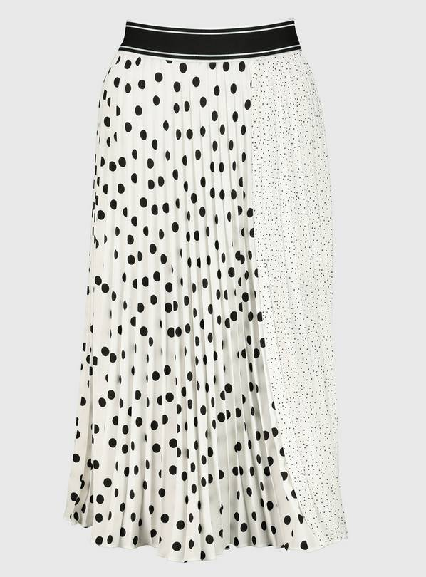 Monochrome Spot Print Pleated Skirt - 12
