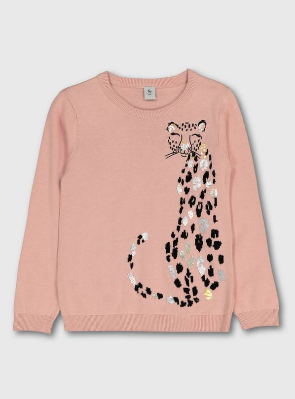 Pink Leopard Detail Jumper - 13 years