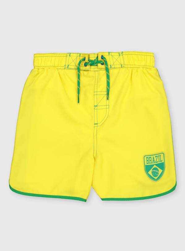 Brazil Yellow Swim Shorts - 7 years