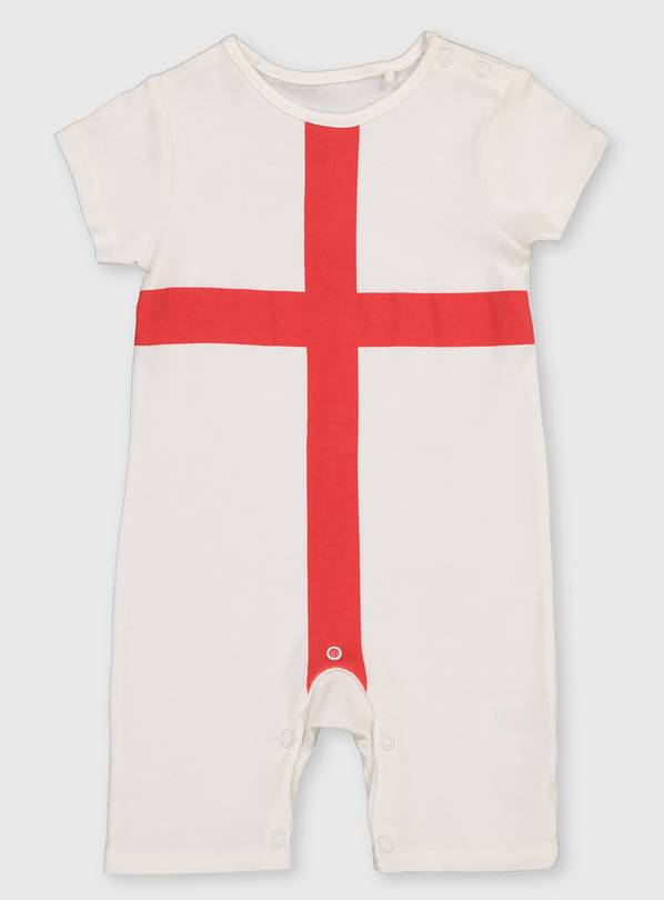 White St George Cross Romper - Up to 1 mth
