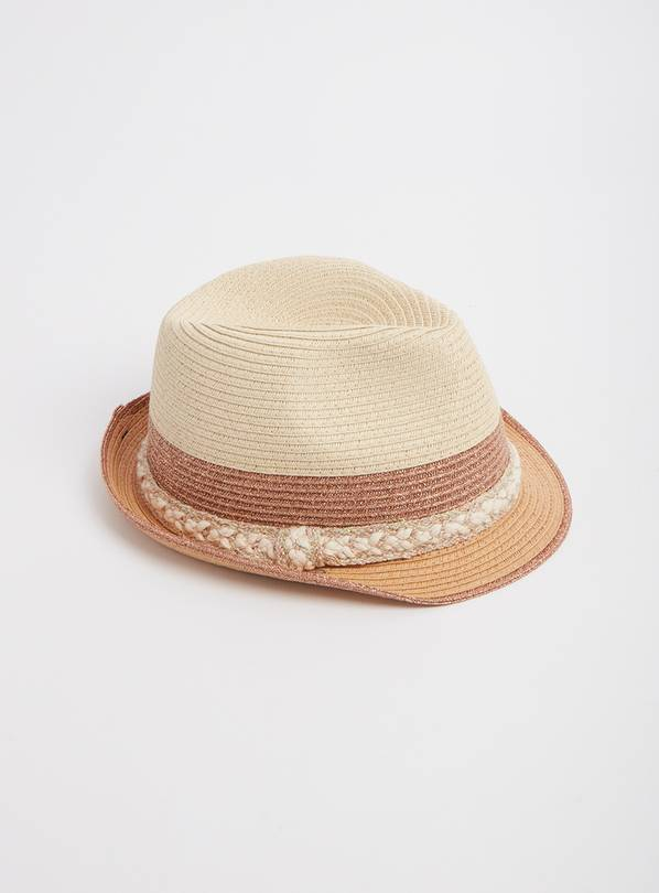 Straw Trilby With Rose Gold Trims - 1-2 years